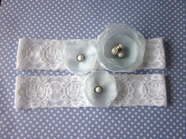 Bridal Garter Set including toss garter Simply Flowers White LIght