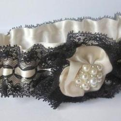 Bridal Garter Set with Pearl and Rhinestone embellishment - Black & Ivory